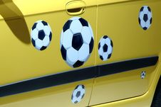 Balls Of Soccer In The Car Royalty Free Stock Photo