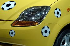 Balls Of Soccer In The Car Royalty Free Stock Photography