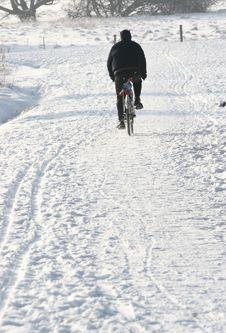 Bike On Snow Royalty Free Stock Photos
