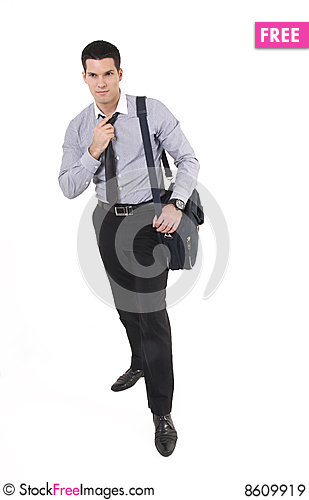 Free Businessman With Suitcase Royalty Free Stock Images - 8609919