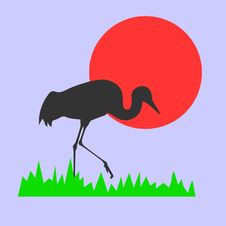Free Vector Silhouette Of The Crane Royalty Free Stock Image - 8600776