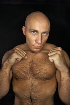 Baldheaded Man In Fighting Stance Stock Images