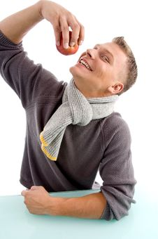 Free Smiling Young Man Going To Eat Apple Royalty Free Stock Images - 8601919