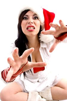 Free Woman With Christmas Hat Giving Bad Expression Stock Photo - 8602120