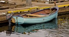 Free Small Blue Boat At A Pier Royalty Free Stock Image - 8602676
