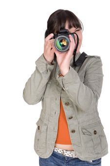 Woman With Camera Royalty Free Stock Photos
