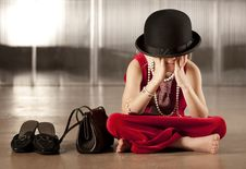 Free Girl With Her Face In Her Hat Stock Images - 8606424