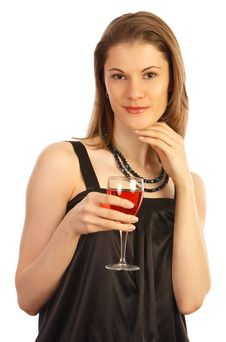 Girl With A Glass Of Wine. Isolated On White Stock Photos