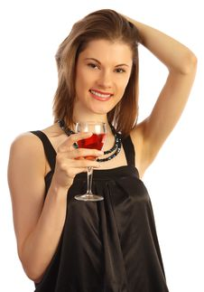 Free Girl With A Glass Of Rose Wine. Isolated On White Royalty Free Stock Image - 8606946