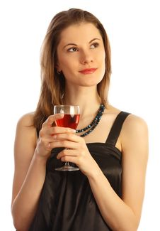 Girl With A Glass Of Wine. Isolated On White Royalty Free Stock Photography
