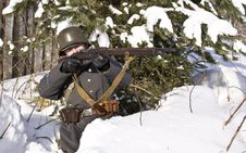 Finnish Soldier Aims From A Rifle Royalty Free Stock Image