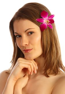 Free Girl With A Flower In Her Hair. Isolated On White Stock Photos - 8607013