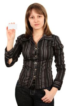 Woman With A Business Card. Isolated On White. Royalty Free Stock Images