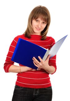 Free Smiling Woman With A Folder. Isolated On White. Royalty Free Stock Images - 8607219