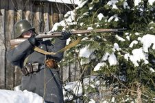Finnish Soldier Aims From A Rifle Royalty Free Stock Photography