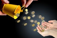 Free Coins Falling To Hands. Royalty Free Stock Image - 8607266