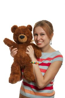 Free Girl With Teddy Bear Stock Photo - 8607750