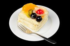 Free Creamy Tart With Fruits On Top Royalty Free Stock Image - 8608286