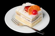 Free Creamy Tart With Fruits On Top Stock Photo - 8608490