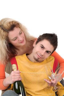 Young Couple Have Together Time With Champagne Stock Photography