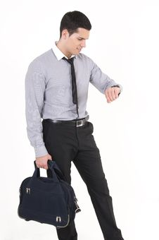 Free Businessman With Suitcaseand Watch Royalty Free Stock Photo - 8609905