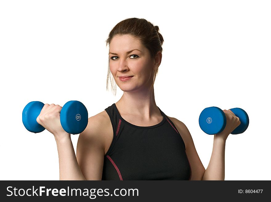 Fitness Woman Exercising w/ Weightlifting Dumbells