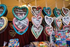 Free Gingerbread Hearts On The Christmas Market Stock Photo - 86005170