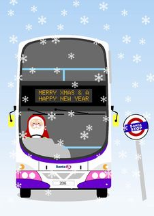 Free Volvo Gemini First Santa Bus Christmas Card Stock Photos - 86005513