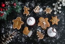 Free Christmas Cookies And Muffins Stock Photos - 86005663