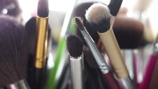 Closeup Brushes And Other Things To Makeup Stock Photography