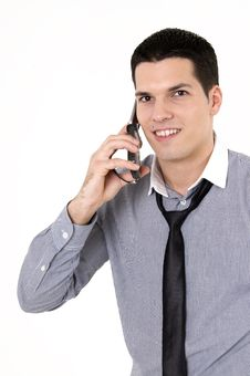 Businessman With Cellular Phone Royalty Free Stock Images