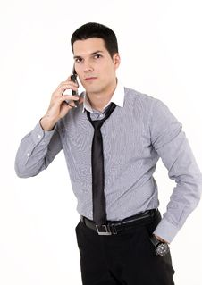 Businessman With Cellular Phone Stock Images