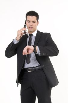 Businessman With Phone And Watch Stock Photos