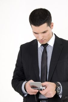 Free Businessman With Cellular Phone Royalty Free Stock Photography - 8610157