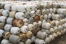 Rows Of Propane Tanks Royalty Free Stock Images