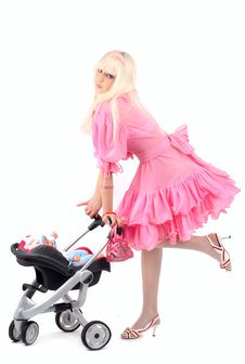 Free Blonde In A Pink Dress Stock Photos - 8610553