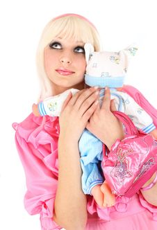Free Blonde In A Pink Dress Stock Image - 8610561