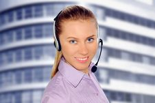 Free Woman Wearing Headset In Office;could Be Reception Royalty Free Stock Photography - 8612997