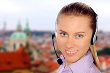 Free Woman Wearing Headset In Office;could Be Reception Royalty Free Stock Photo - 8613035