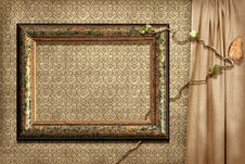 Grunge Frame On A Grunge Wallpape Royalty Free Stock Photo