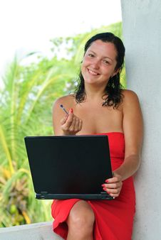 Smiling Beautiful Young Woman With Laptop Royalty Free Stock Photo