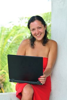 Free Laughing Beautiful Young Woman With Laptop Stock Photo - 8614030