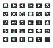 Free Web Icons And Buttons - Milled Blue On Grey Royalty Free Stock Images - 8615219
