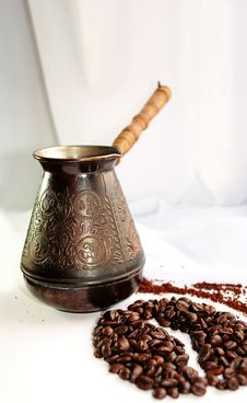 Turkey And Grains Of Coffee Stock Image