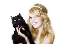 Free Blonde Girl With A Black Cat Stock Image - 8616491