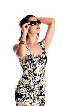 Woman Wearing The Sunglasses. Royalty Free Stock Photography