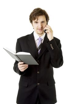 Businessman With Phone And Daily Royalty Free Stock Photo