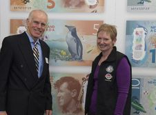 Free Peter Hillary And A Representative Of The Yellow-Eyed Penguin Trust New Zealand Royalty Free Stock Image - 86175716