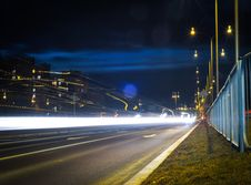 Free Car Headlights On Street At Night Royalty Free Stock Image - 86184356