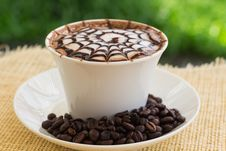 Free Decorative Cup Of Coffee With Beans Stock Image - 86184741